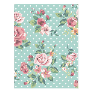 Vintage shabby chic floral teal pink girly post cards