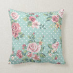 Vintage shabby chic floral teal white pink polka throw cushion