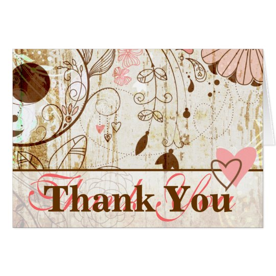 Vintage Shabby Chic Floral Thank You Card