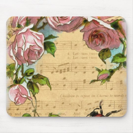 Vintage Shabby Chic Flowers & Music Collage Mouse