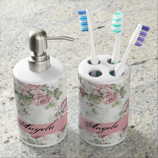 Vintage Shabby Chic Flowers-Personalized Bathroom Sets
