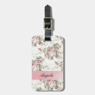 Vintage Shabby Chic Flowers-Personalized Luggage Tag