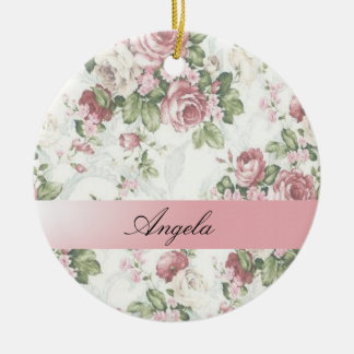 Vintage Shabby Chic Flowers-Personalized Round Ceramic Decoration