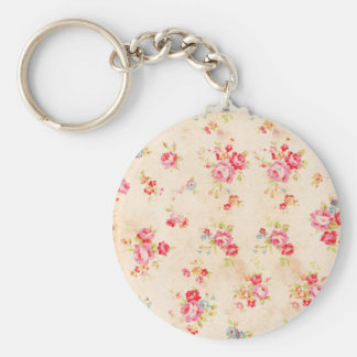 Vintage Shabby Chic Girly Pink Blue Roses Floral Basic Round Button Key Ring