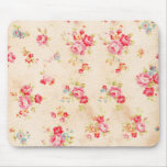 Vintage Shabby Chic Girly Pink Blue Roses Floral Mousemat