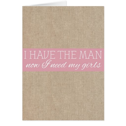 Vintage Shabby Chic Pink Burlap Bridesmaid Request Cards