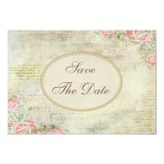 Vintage Shabby Chic Roses Wedding Save the Date 9 Cm X 13 Cm Invitation Card