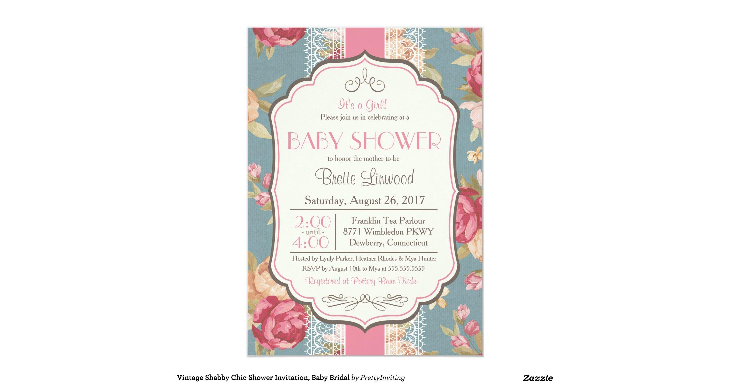 Vintage Shabby Chic Shower Invitation Baby Bridal