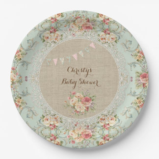 Vintage Shabby Floral Burlap Lace Custom 9 Inch Paper Plate