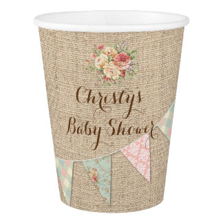 Vintage Shabby Floral Roses Burlap Custom Paper Cup