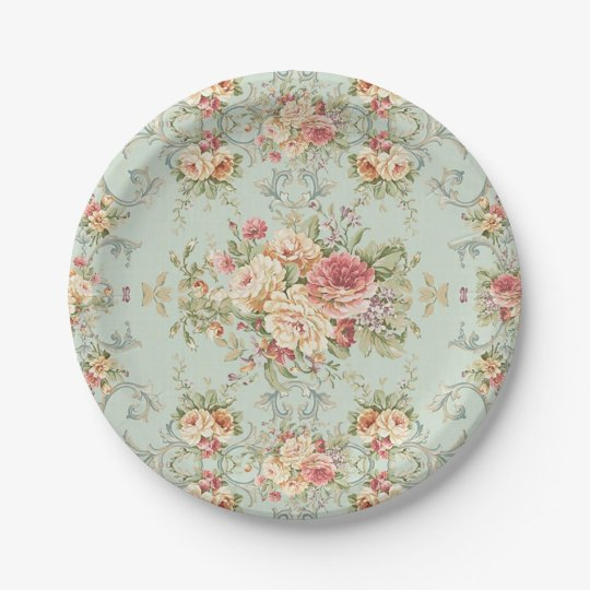 Vintage Shabby Floral Roses Pink Ivory 7 Inch