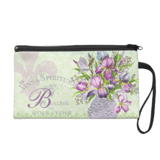 Vintage Shabby Purple Flowers Whimsical Monogram Wristlet Clutches