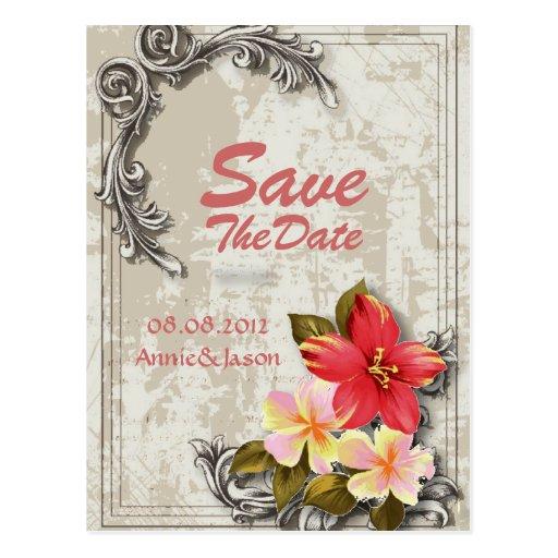 Vintage ShabbyChic Beach Wedding SaveTheDate Card Postcards
