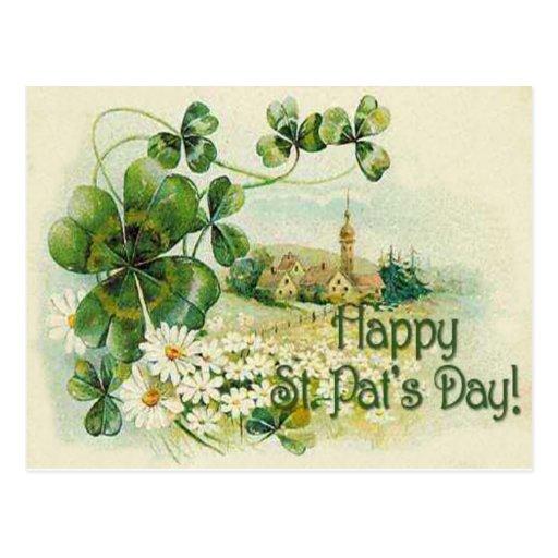 Vintage Shamrock Church Village St Patrick's Day C Postcards