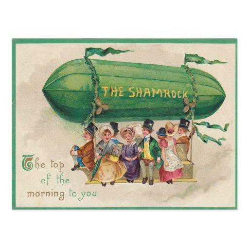 Vintage Shamrock Float St Patrick's Day Card Postcards