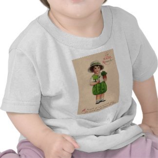 Vintage Shamrock Girl St Patrick's Day Card Tee Shirts