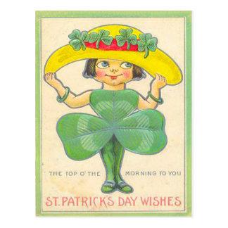 Vintage Shamrock Girl St Patrick's Greeting Card Postcard