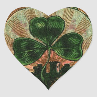 Vintage Shamrock Irish Heart Castle Motif Heart Sticker