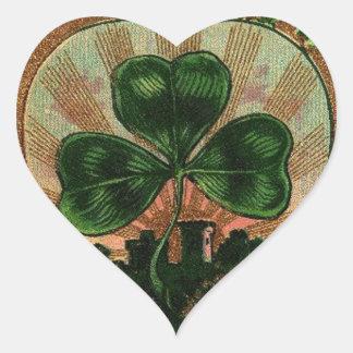 Vintage Shamrock Irish Heart Castle Motif Stickers