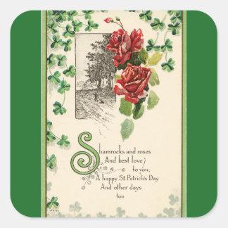Vintage Shamrocks And Roses Square Sticker