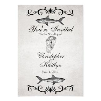 Vintage Shark and Jellyfish Beach Wedding 13 Cm X 18 Cm Invitation Card