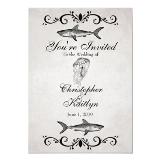 "Vintage Shark and Jellyfish Beach Wedding Invite 5"" X 7"" Invitation Card"