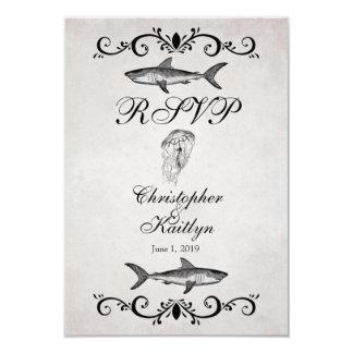Vintage Shark and Jellyfish Wedding RSVP Cards