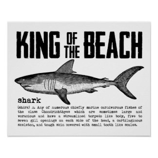 Vintage Shark Beach King Poster