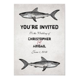 Vintage Shark Couple Destination Beach Wedding Card