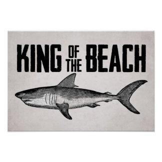 Vintage Shark King of the Beach Poster