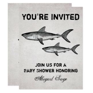 Vintage Shark Ocean Baby Shower Beach Invitation