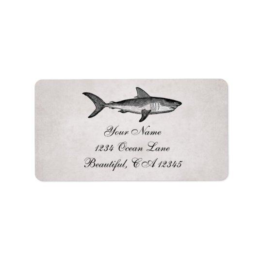 Vintage Shark Ocean Beach Address Label