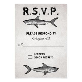 Vintage Shark ~ Ocean Beach Wedding RSVP Card