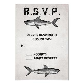 Vintage Shark Ocean Wedding RSVP Cards