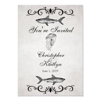 Vintage Sharks and Jellyfish Beach Wedding Invite
