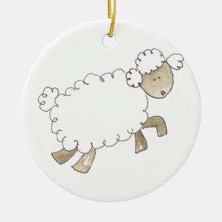 Vintage Sheep by Serena Bowman funny farm animals Christmas Tree Ornament