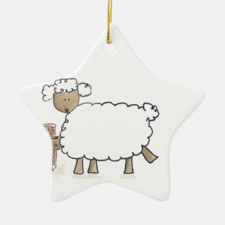 Vintage Sheep by Serena Bowman funny farm animals Christmas Ornaments