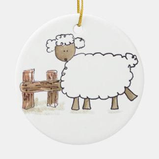 Vintage Sheep by Serena Bowman funny farm animals Christmas Ornament