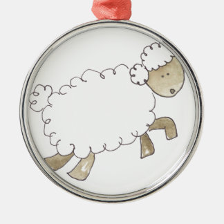 Vintage Sheep by Serena Bowman funny farm animals Silver-Colored Round Decoration