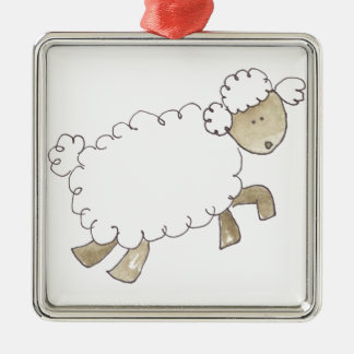 Vintage Sheep by Serena Bowman funny farm animals Silver-Colored Square Decoration