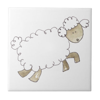 Vintage Sheep by Serena Bowman funny farm animals Small Square Tile