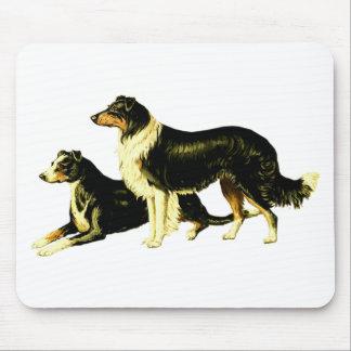 Vintage Sheep Dog Illustration Mousepads