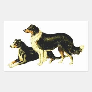 Vintage Sheep Dog Illustration Rectangular Stickers