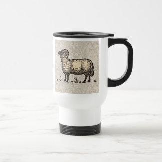 Vintage Sheep Farm Animal Illustration Travel Mug