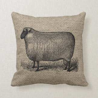Vintage Sheep on Burlap Cushion