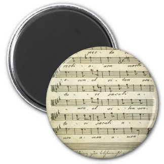 Vintage Sheet Music, Antique Musical Score 1810 6 Cm Round Magnet