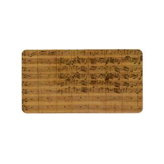 Vintage Sheet Music by Johann Sebastian Bach Address Label
