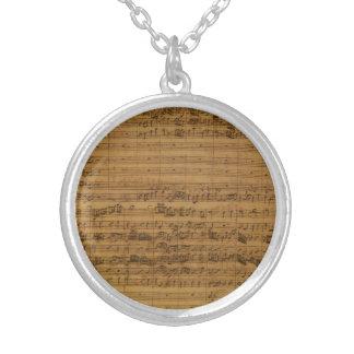 Vintage Sheet Music by Johann Sebastian Bach Round Pendant Necklace