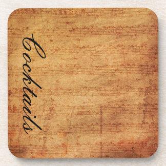 Vintage Sheet Music Cork Coasters