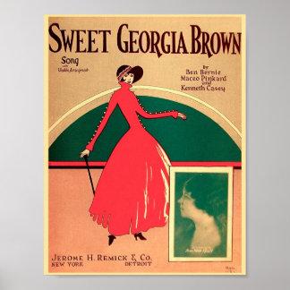 Vintage Sheet Music Cover Sweet Georgia Brown 1925 Poster